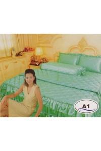ชุดเครื่องนอน ผ้าห่มนวม ชุดผ้าปูที่นอนซาติน Master ระบายชาย A1
