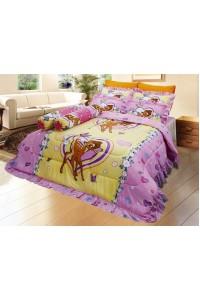 ชุดเครื่องนอน ผ้าห่มนวม ชุดผ้าปูที่นอนซาติน ลายการ์ตูนลิขสิทธิ์ C056 (Disney Bambi)