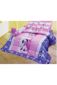 ชุดเครื่องนอน ผ้าห่มนวม ชุดผ้าปูที่นอนซาติน ลายการ์ตูนลิขสิทธิ์ C065 (Disney 102 Dalmatians)