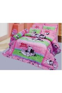 ชุดเครื่องนอน ผ้าห่มนวม ชุดผ้าปูที่นอนซาติน ลายการ์ตูนลิขสิทธิ์ C071 (Disney 102 Dalmatians)
