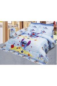 ชุดเครื่องนอน ผ้าห่มนวม ชุดผ้าปูที่นอนซาติน ลายการ์ตูนลิขสิทธิ์ C075 (Disney Lilo & Stitch)