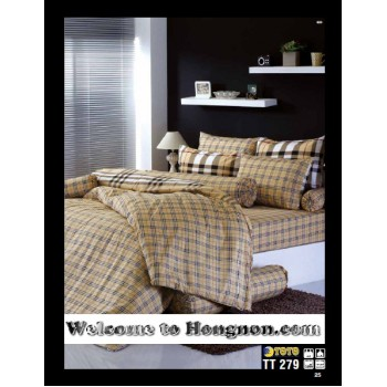 ชุดเครื่องนอน ผ้าห่มนวม ชุดผ้าปูที่นอนโตโต้  TT279(น้ำตาล)