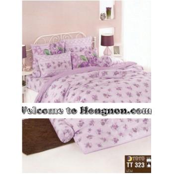 ชุดเครื่องนอน ผ้าห่มนวม ชุดผ้าปูที่นอนโตโต้  TT323ม่วง
