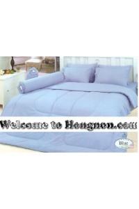 ชุดเครื่องนอน ผ้าห่มนวม ชุดผ้าปูที่นอนทิวลิป สีพื้น สีฟ้า (Blue)