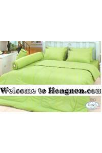 ชุดเครื่องนอน ผ้าห่มนวม ชุดผ้าปูที่นอนทิวลิป สีพื้น สีเขียว (Green)
