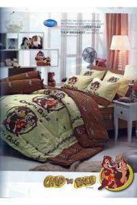 ชุดเครื่องนอน ผ้าห่มนวม ชุดผ้าปูที่นอนทิวลิป ลายการ์ตูน D020 (CHIP'N DALE)