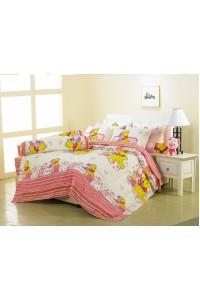 ชุดเครื่องนอน ผ้าห่มนวม ชุดผ้าปูที่นอนซาติน Premier ลายการ์ตูนลิขสิทธิ์ PK002 (Winnie The Pooh)