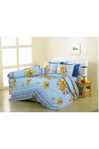 ชุดเครื่องนอน ผ้าห่มนวม ชุดผ้าปูที่นอนซาติน Premier ลายการ์ตูนลิขสิทธิ์ PK004 (Winnie The Pooh)