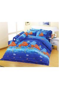 ชุดเครื่องนอน ผ้าห่มนวม ชุดผ้าปูที่นอนซาติน Premier ลายการ์ตูนลิขสิทธิ์ PK007 (NEMO)
