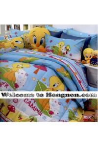 ชุดเครื่องนอน ผ้าห่มนวม ชุดผ้าปูที่นอนซาตินลายลายการ์ตูน Premier PK011