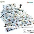 ชุดเครื่องนอน ผ้าห่มนวม ชุดผ้าปูที่นอนโตโต้ ลายการ์ตูนลิขสิทธิ์ สนู๊ปปี้ SP04